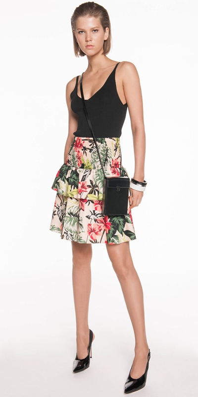 Skirts | Hibiscus Palm Shirred Skirt