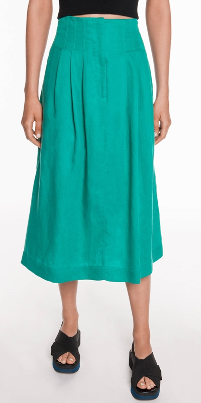 Dresses  | Linen Blend High Waisted Skirt