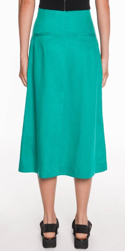 Skirts | Linen Blend High Waisted Skirt