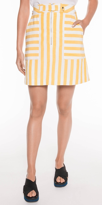 Sale  | Linen Stripe Mini Skirt