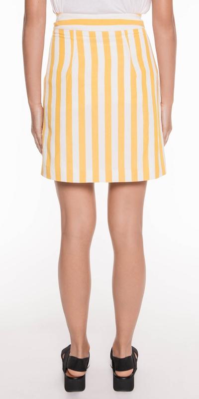 Skirts | Linen Stripe Mini Skirt