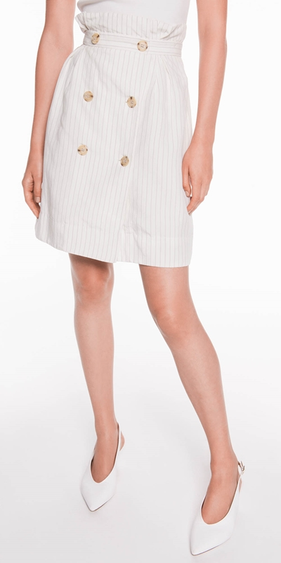 Made in Australia  | Pinstripe Linen Blend Skirt