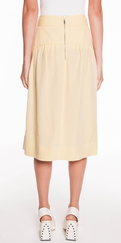 Skirts | Linen Blend Midi Skirt