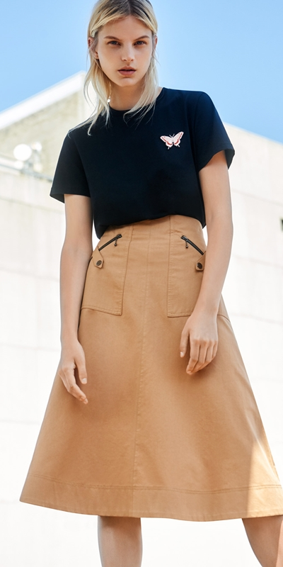 Skirts | Cotton Twill High Waisted Skirt