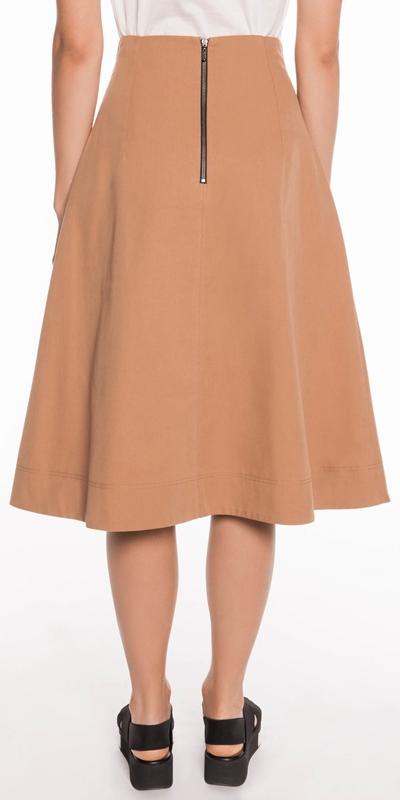 Skirts | Cotton Twill High Waisted Skirt
