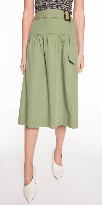 Skirts  | Cotton Faille Midi Skirt