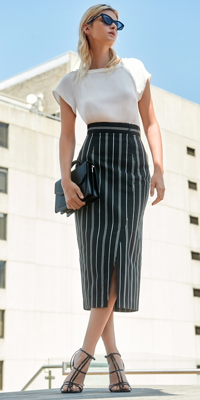 Dresses | Bold Cotton Stripe Midi Skirt