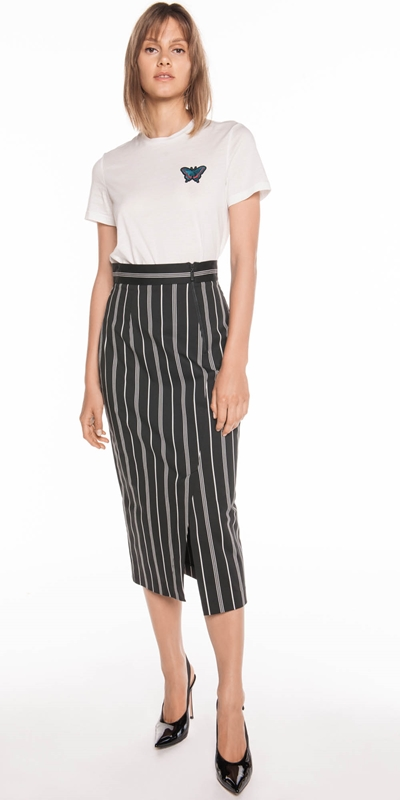 Made in Australia  | Bold Cotton Stripe Midi Skirt