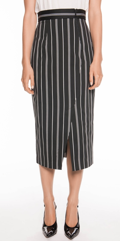 Skirts | Bold Cotton Stripe Midi Skirt