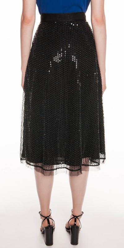 Skirts | Sequin Beaded Mesh Midi Skirt