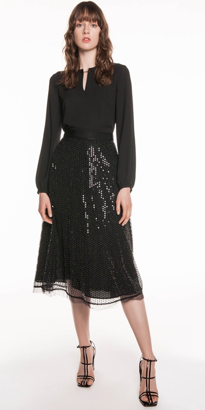 Skirts | Sequin Beaded Mesh Midi Skirt
