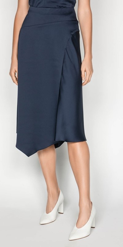 Skirts  | Drapey Satin Asymmetric Skirt