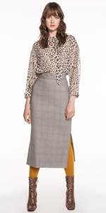 Skirts | Golden Plaid Pencil Skirt