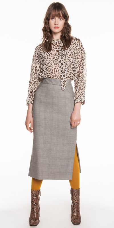 Made in Australia | Golden Plaid Pencil Skirt