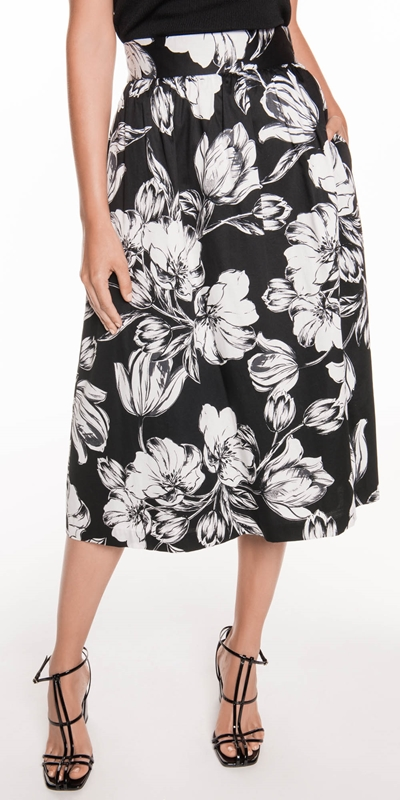 Skirts  | Illustrated Tulip Cotton Skirt