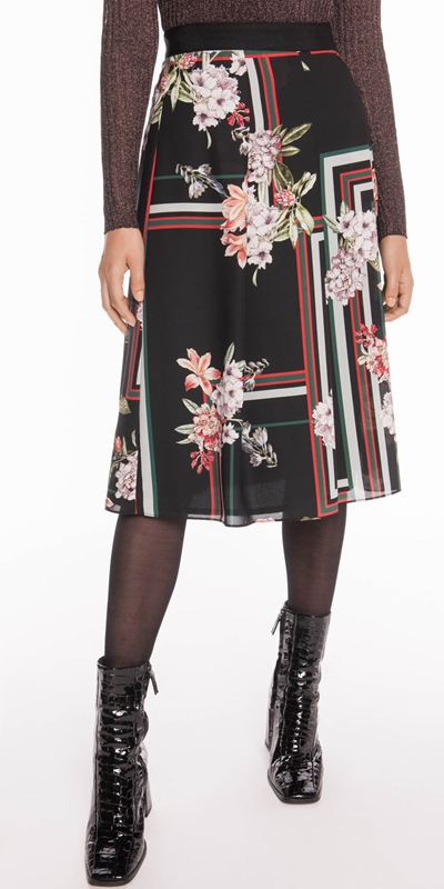 Skirts  | Floral Scarf Pleated Midi Skirt