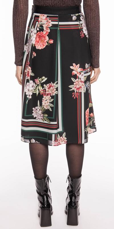 Skirts | Floral Scarf Pleated Midi Skirt