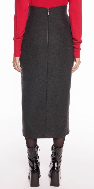 Skirts | Charcoal Melange Felt Pencil Skirt