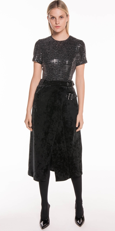 5470d3911 Skirts | Crushed Velvet Midi Wrap Skirt ...