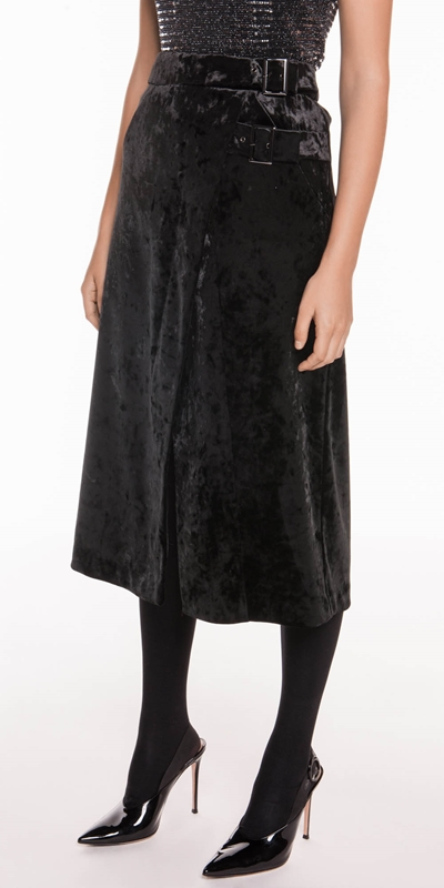 Skirts  | Crushed Velvet Midi Wrap Skirt