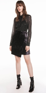 Skirts | Metal Mauve Velvet Wrap Skirt