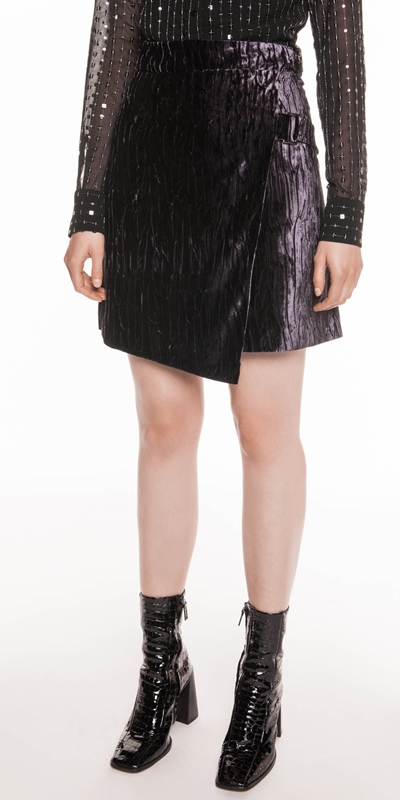Skirts | Metal Mauve Velvet Wrap Skirt