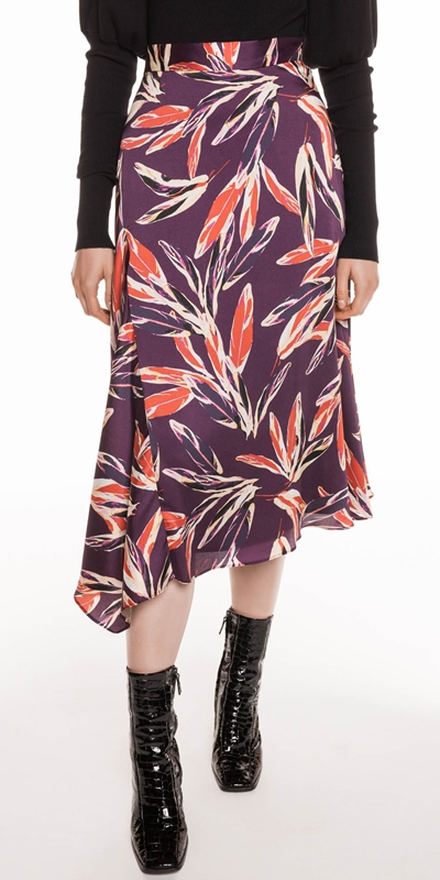 Skirts  | Abstract Feather Satin Skirt