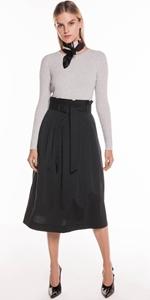Skirts   Belted Paperbag Midi Skirt