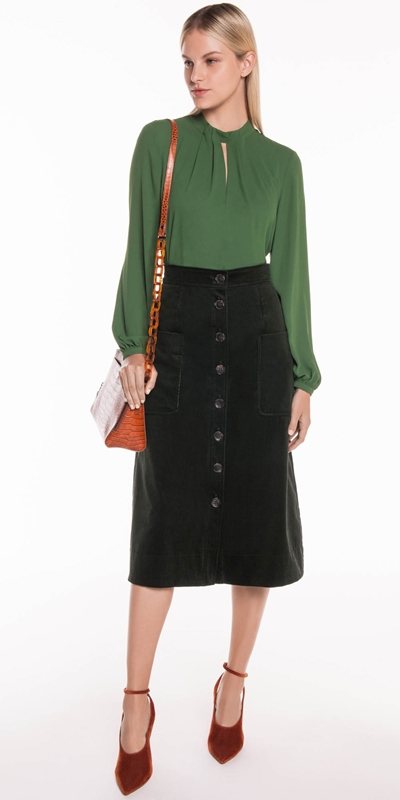 Skirts | Corduroy Button Front Midi Skirt