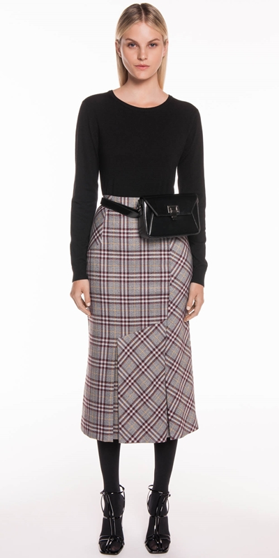 Wear to Work | Charcoal Plaid Pleat Skirt