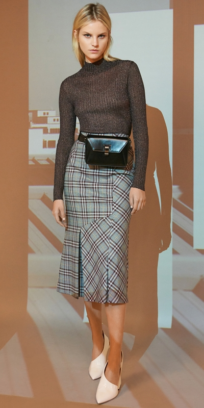 Sale  | Charcoal Plaid Pleat Skirt
