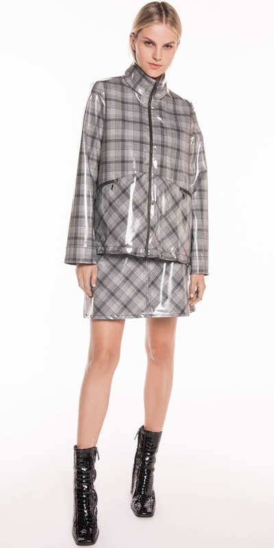 Skirts | Coated Check Mini Skirt