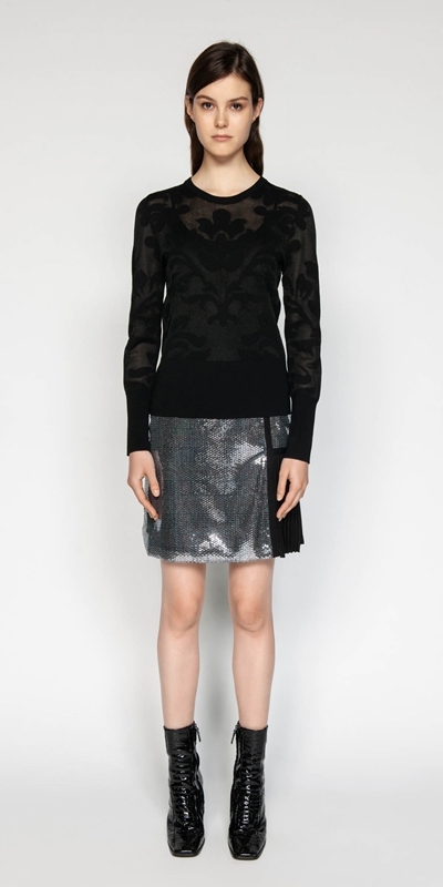 Skirts | Sequin Check A-line Skirt