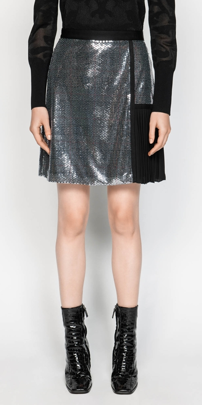 eecf76f2c78a ... Skirts | Sequin Check A-line Skirt