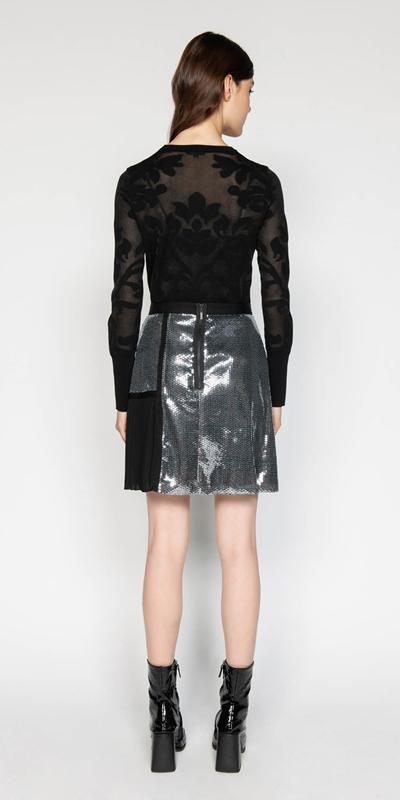 Skirts   Sequin Check A-line Skirt