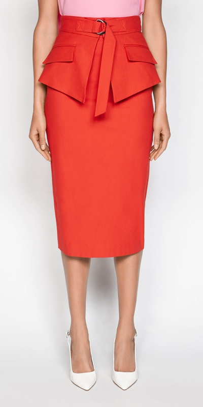 Sale  | Belted Peplum Pencil Skirt