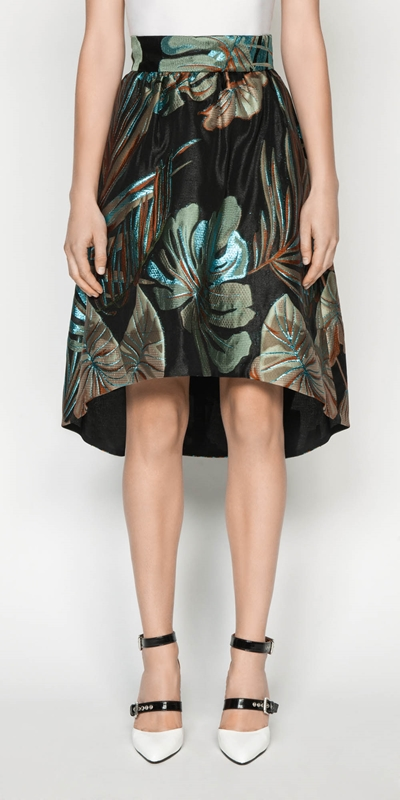 Skirts  | Metallic Palm Jacquard Skirt