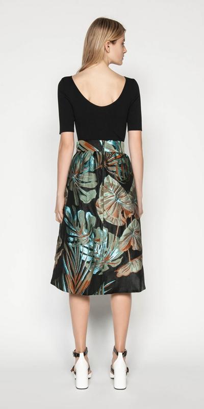 Skirts | Metallic Palm Jacquard Skirt