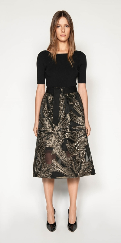 Sale | Metallic Jacquard Skirt
