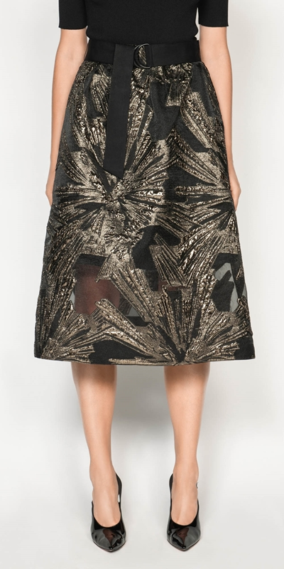 Outlet  | Metallic Jacquard Skirt