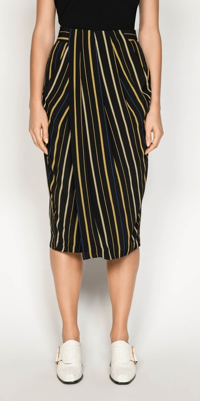Skirts  | Stripe Draped Tulip Skirt