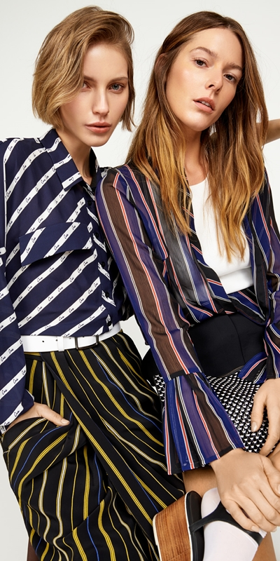 Skirts | Stripe Draped Tulip Skirt