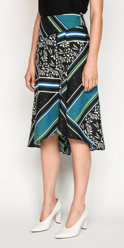 Made in Australia  | Scarf Print Asymmetric Midi Skirt