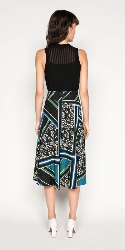 Skirts   Scarf Print Asymmetric Midi Skirt