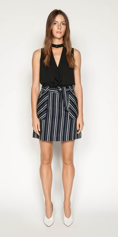 Skirts | Linen Stripe Belted Skirt