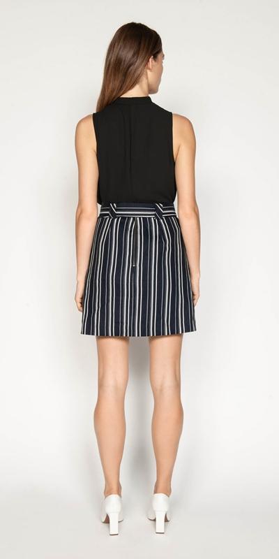 Skirts | Linen Stripe Belted Skirt