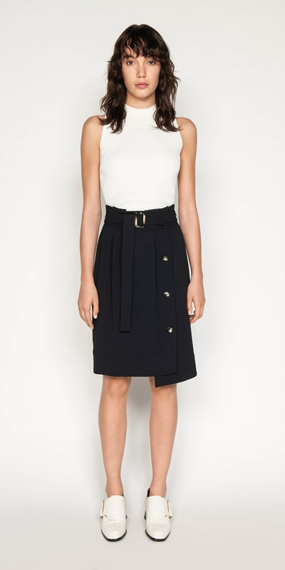 Skirts | Belted Paperbag Skirt