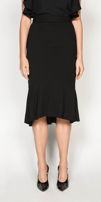 Skirts  | Drapey Fluted Hem Skirt