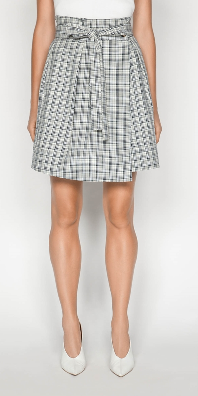 Skirts | Linen Check Paperbag Skirt