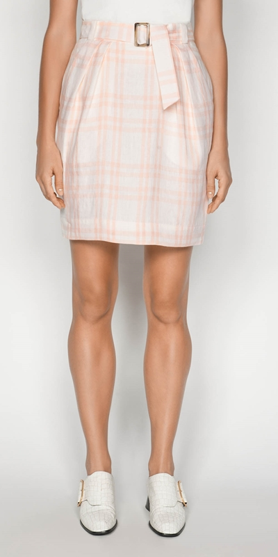 Outlet  | Linen Check Tulip Skirt